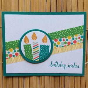 Handmade Green Birthday Wishes Blank Greeting Card